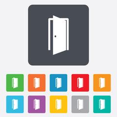 Door sign icon. Enter or exit symbol.