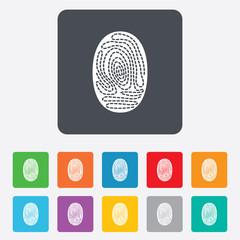 Fingerprint sign icon. Identification symbol.