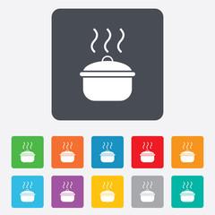 Cooking pan sign icon. Boil or stew food symbol.