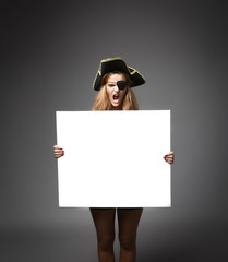 pirate with empty white board on hands