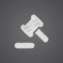 court law sketch logo doodle icon.
