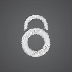 lock sketch logo doodle icon.