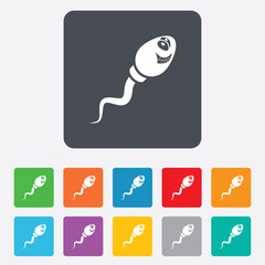 Sperm sign icon. Fertilization symbol.