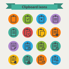 Vector black Clipboard icons set in flat style