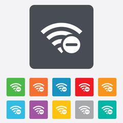 Wifi minus sign. Wi-fi symbol. Wireless.