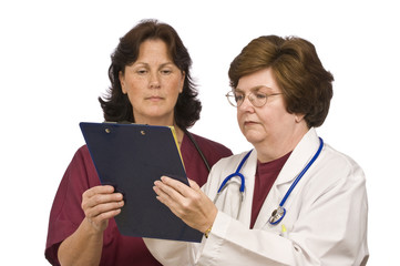 Doctor and Nurse Review Patient Records