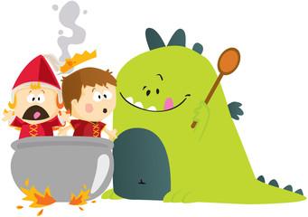 Conte dragon et princesse en cuisine