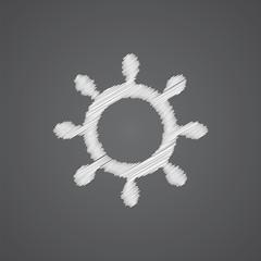 ship wheel sketch logo doodle icon.