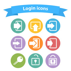 Vector set of white login icons with arrow,lock,key,shape,sign