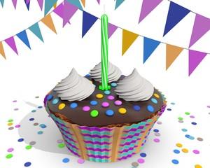 Gekleurd taartje voor eerste verjaardag