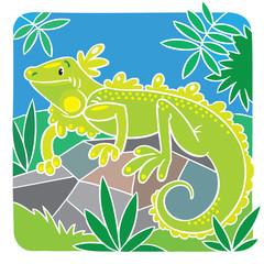 Children vector illustration of little iguana