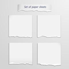 Vector set of   paper sheet over white