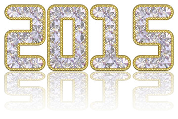 2015 digits composed of gems in golden rim on glossy white