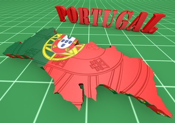 Map illustration of Portugal with map