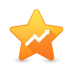 Isolated star icon with a graph