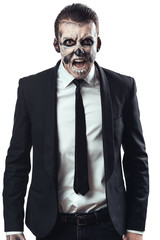 furious businessman  makeup skeleton