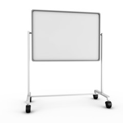 Blank white office board isolated on white background.