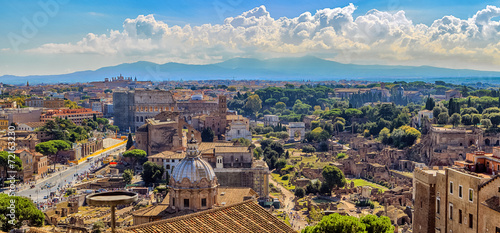 canvas print picture Aerial View of Architectural Buildings at Rome