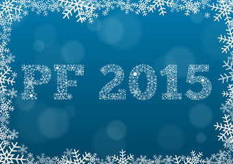 PF 2015 made of snowflakes on dark blue background