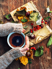 hands with a mug autumn fruit tea