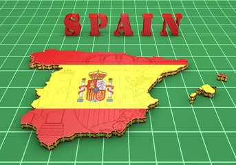 Map of SPAIN with flag