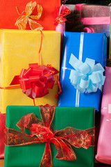 Colored wrapped Christmas presents