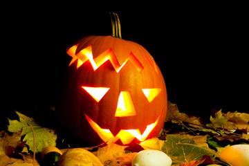 Lighting Helloween Pumpkin with autumn leaves