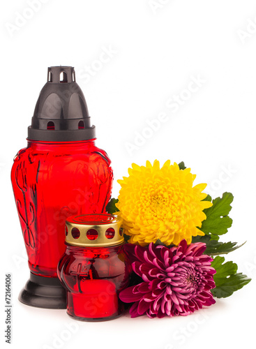 grave candle  lantern with flowers isolated on white - 72164006