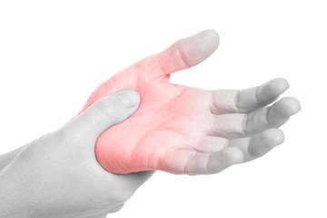 wunde Handfläche - schwarz weiß mit rot markiertem Schmerzpunkt