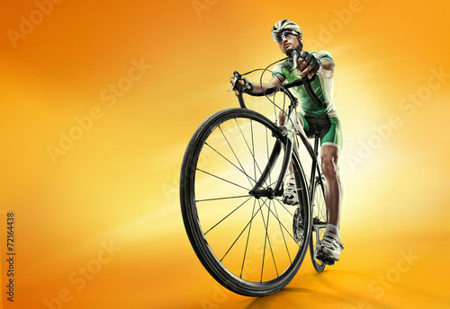 Leinwandbild Motiv Isolated athletic cyclist. Sport