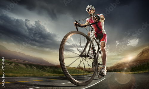 canvas print picture Sport. Road cyclist.