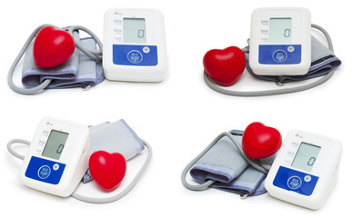 digital blood pressure meter collection isolated on white