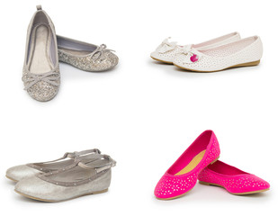 female shoes collection isolated on white background