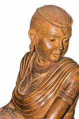 Wood carving statue female beauty