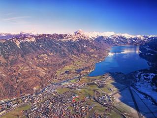 Aerial view Swiss city Interlaken