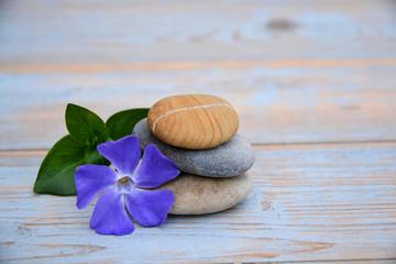Drie Zen stenen op oud hout met paarse bloem