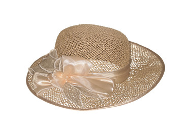 Straw hat, isolated on the white.