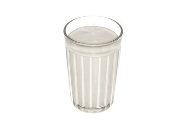 Yogurt in a glass, isolated on the white.