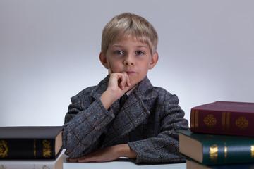 Little child in tweed jacket