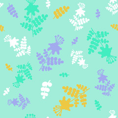 Calm green seamless pattern with imaginary flower silhouettes