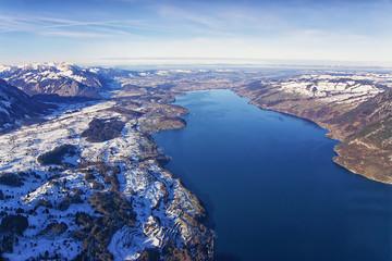 Thun Lake aerial view in winter