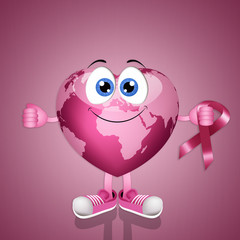 Pink globe for breast cancer
