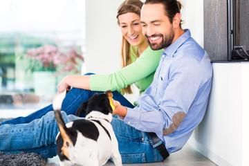 Paar sitzt im Wohnzimmer und spielt mit Hund