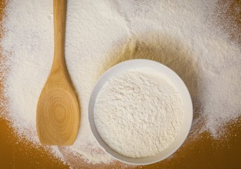 Preparation for baking, wheat  flour on table