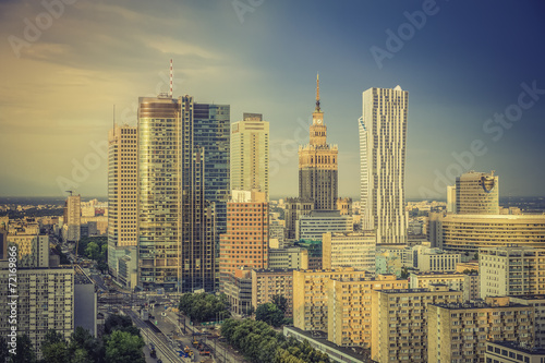 Fototapeta Warsaw financial district in late afternoon, Poland