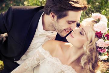 Romantic scene of kissing marriage