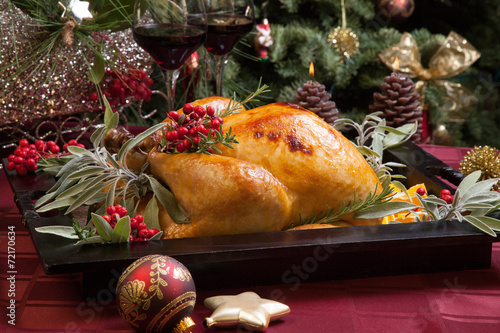 canvas print picture Christmas Turkey Prepared For Dinner