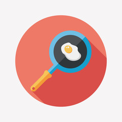 Kitchenware pan and egg flat icon with long shadow,eps10