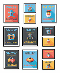 Christmas poster banner design flat background set, eps10