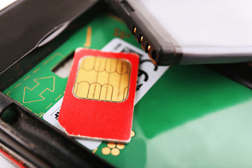 cell phone and sim card, close up